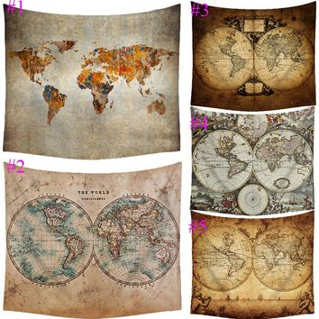 Vintage Design World Map Hemisphere Hanging Wall Tapestry Home Bedroom Dorm Decoration 59''x51''