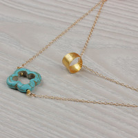 """Turquoise clover necklace, double layer necklace, ring necklace, double strand necklace, clover necklace, bridal necklace, """"Tereine"""""""