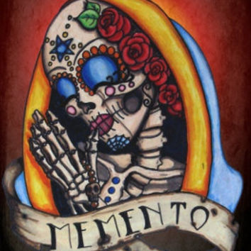 Praying Skull Day of the Dead archival print - Our Lady  (many sizes available)