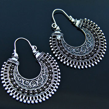 Indian hoop earrings,chand bali,indian bali,Hoop earring,Indain jewelry,Gypsy earrings,Tribal ethnic earrings,Tribal jewelry,Gift for her
