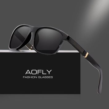 AOFLY BRAND DESIGN Men Sunglasses Polarized Mirror Lens Square Frame Sun Glasses Vintage Goggles Classic Gafas Oculos AF8070