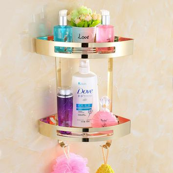 Bathroom Shelves Stainless Steel 2 Tiers Corner Shelf Shower Caddy Storage Shampoo Basket Wall Kitchen Corner Sticky Holder 9287