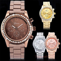 2015 Casual Watch Geneva Unisex Quartz Watches Women Analog Wristwatches Stianless Steel Sports Watches Relogio Feminino