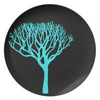 Aqua Mod Tree Silhouette Party Plate
