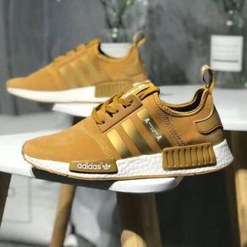 Kalete Adidas NMD X OFF-WHITE Fashion Women Men Personality Running Sports Shoes Sneakers Gold I-CQ-YDX