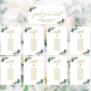 Wedding reception seating chart template, Printable greenery gold seating chart by table, Seating chart template, Hanging seating plan cards