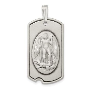 925 Sterling Silver Antiqued Dog Tag Saint Michael Pendant