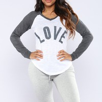 Only Got Love Top - Charcoal