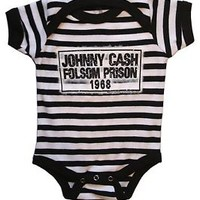 Johnny Cash Baby Suit Kids Onesuit One Piece Romper Folsom Stripes (3-12 months)