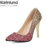 KARINLUNA 2018 Large Sizes 34-43 Pointed Toe Party Woman Shoes Sexy Thin High Heels Slip On Bling Wedding Pumps Shoes Women