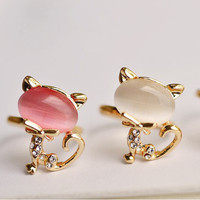 SakuraShop — Cute Cat Opal Open Ring