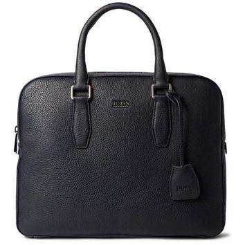 Midnight Blue Grained Leather Briefcase by Hugo Boss