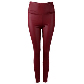 Shiny Metallic High Waist Burgundy Stretchy Leather Leggings S-XL