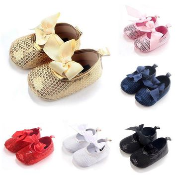 Baby Girl Sequins Crib Shoes Soft Sole Anti-slip Princess Shoes Newborn to 12M