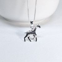 Giraffe Necklace Sterling Silver Giraffe Pendant Necklace Zoo Animal Giraffe 925 Silver Safari Necklace Wild Animal Preservation Inspired