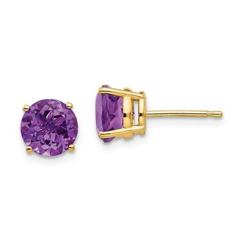 14k Gold 7 mm Amethyst Post Earrings