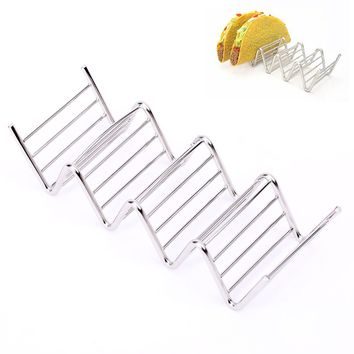 4 Hard Shells Wave Stainless Steel Corn Roll Stand Taco Holders Mexican Food Rack Home Kitchen Cooking Baking Tools Food Show