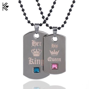 Cool 2018 New 1pc Her King & His Queen Couple Necklaces Black Tag Pendant Necklace With Crystal Stone for Valentine's Day PresentAT_93_12
