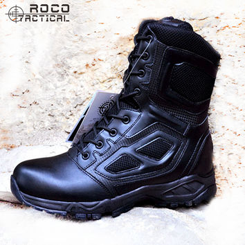 Mens Breathable Tactical Boots Ultralight Side Zip Tactical Jungle Boots Combat Military Swat Boots