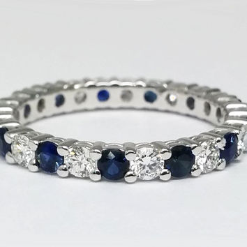 Wedding Band - Alternating Round Diamonds & Blue Sapphires in 14k White Gold