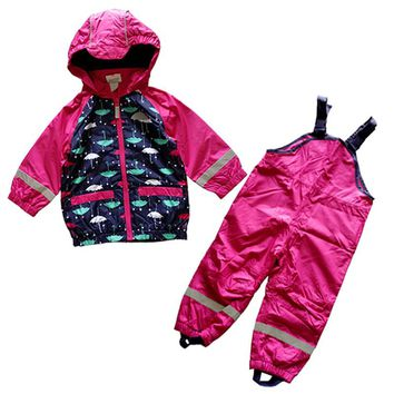 children/kids/toddler/baby girls clothes, baby windproof suit, waterproof clothing set, jacket, overalls, raincoat, 74 to 92