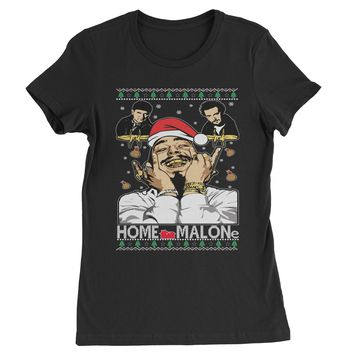 Home Malone Ugly Christmas Womens T-shirt