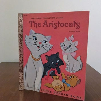 Vintage 1978 Walt Disney Production of The Aristocats - A Little Golden Book / Retro Children's Cat Book / Thomas O'Malley the Alley Cat