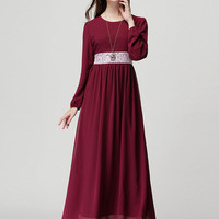Wine Red Sheer Lace Waist Long Sleeve Maxi Dress
