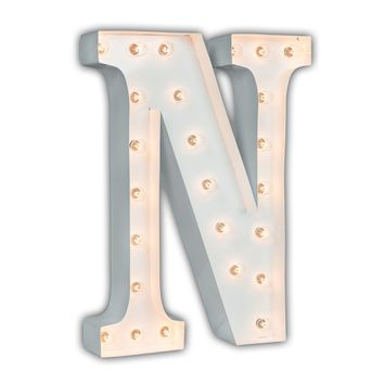 "24"" Letter N Lighted Marquee Letters (White Gloss)"