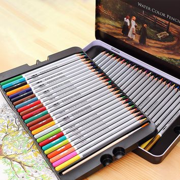 24 36 48 72 lapis de cor profissional colored pencils watercolor pencils lead water-soluble color painting pen student supplies