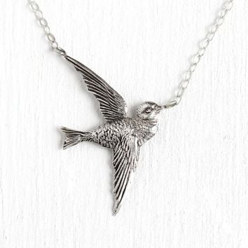 Antique Sparrow Necklace - Sterling Silver Brooch Pin Conversion 7d59346b9e