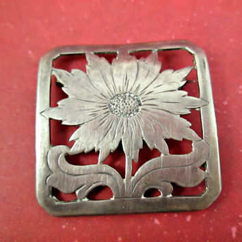 Vintage Sterling Silver Flower Brooch Sunflower Pin Slightly Curved Square Flat with Cut-outs and Etching Leaving the Sunflower Image Nice!