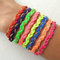 Neon braided bracelets, string bracelets, neon bracelets, neon jewelry, best friend gift, best friend birthday, gifts for women
