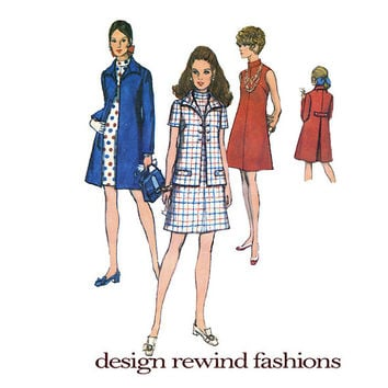1960s MOD Inverted Back Pleat Lined Coat A-Line Sleeveless DRESS w/ Stand-Up Collar & Jacket Simplicity 8592 Bust 38 Vintage Sewing Patterns