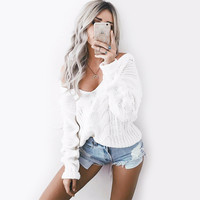 White V-Neck Knitted Sweater