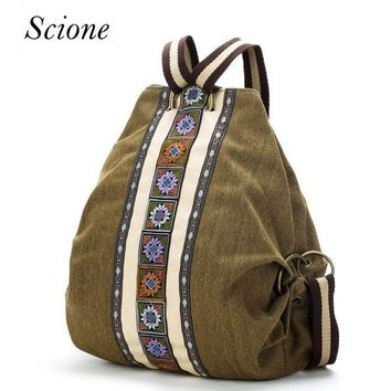 Women Canvas Tribal Ethnic Embroidered Backpack