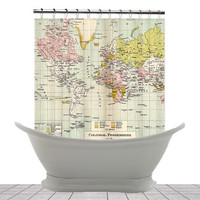 Shower Curtain - Colonial Possessions Vintage World  Map - Home Decor - Bathroom - maps