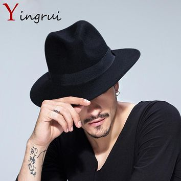 Spring Wide Brim Fedora Men Women Vintage Jazz Hats Fashion Stars Wool felt hat Unisex Black Felt Bowler Trilby