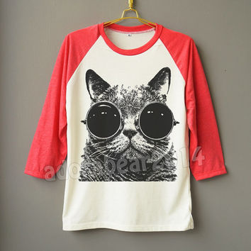 Meow Glasses Shirt Cat Glasses T-Shirt Meow Shirt Cat Shirt Raglan Baseball Shirt Unisex Shirt Women Shirt Men Shirt Jersey Long Sleeve Tee