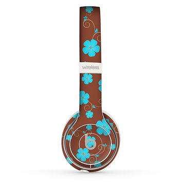The Brown and Blue Floral Layout Skin Set for the Beats by Dre Solo 2 Wireless Headphones