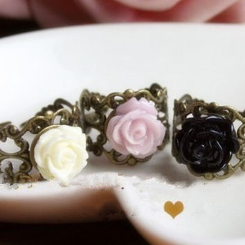 Dainty Cream Yellow Purple Black Resin Flower Filigree Lace Ring, Wedding Bride Bridesmaid Jewelry, punk girly lolita