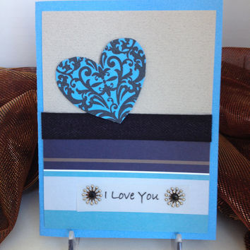 I love you card, blue, for anniversary, I'm sorry card, romantic love greeting card, all occasion, love you