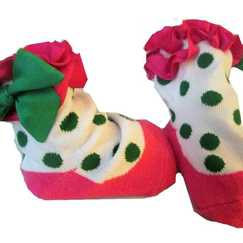Adorable Pink , Green and White Girls Baby Sock- Non Skid