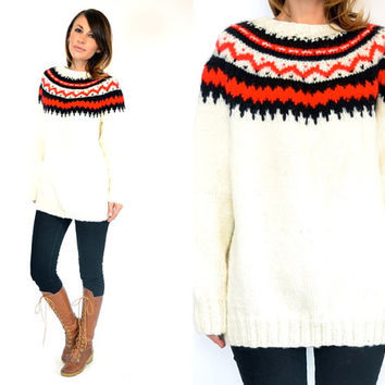 oversized CHUNKY fair isle ICELANDIC folk boho nordic SWEATER jumper pullover, extra small-large