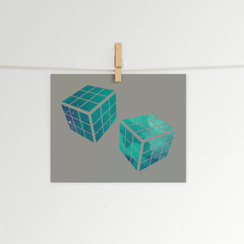 Rubik's Cube in Space 8x10 Print // Home Decor // Retro Print // 80s Decor