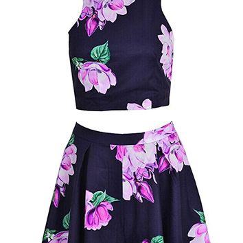 eshion Women Floral Print Halter Neck Backless Crop Top and Short Set