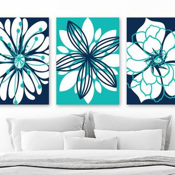 Turquoise Navy Flower Wall Art, CANVAS or Prints Turquoise Navy Bedroom Decor, Turquoise Bathroom Wall Decor, Set of 3 Flower Home Decor