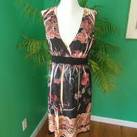 Mushka by Sienna Rose Asian Flower Print Sleeveless A-Line Dress Sz M