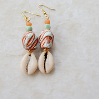 African Earrings,  Turquoise Cowrie Shell Earrings, Retro Earrings, Ethnic Jewelry, Shell Earrings