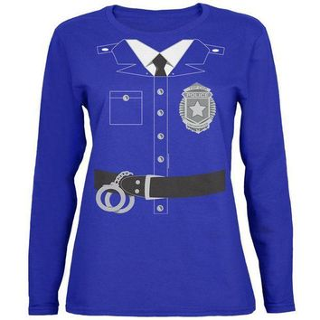 CREYON Halloween Police Policeman Cop Costume Womens Long Sleeve T Shirt